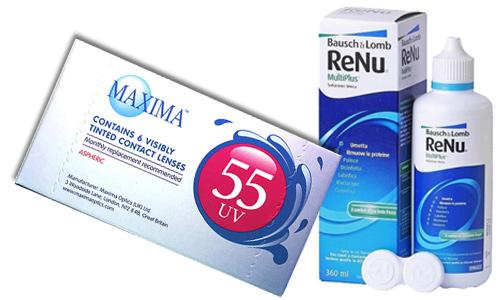 Купить линзы Maxima UV 55 и раствор для линз Renu 360 мл