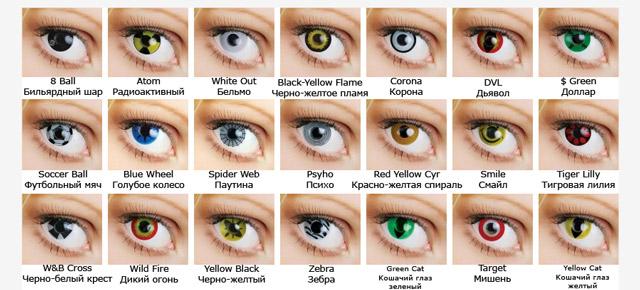 Разноцветные линзы для глаз